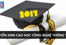 Tuyển sinh Cao học Công nghệ thông tin đợt 1 năm 2017