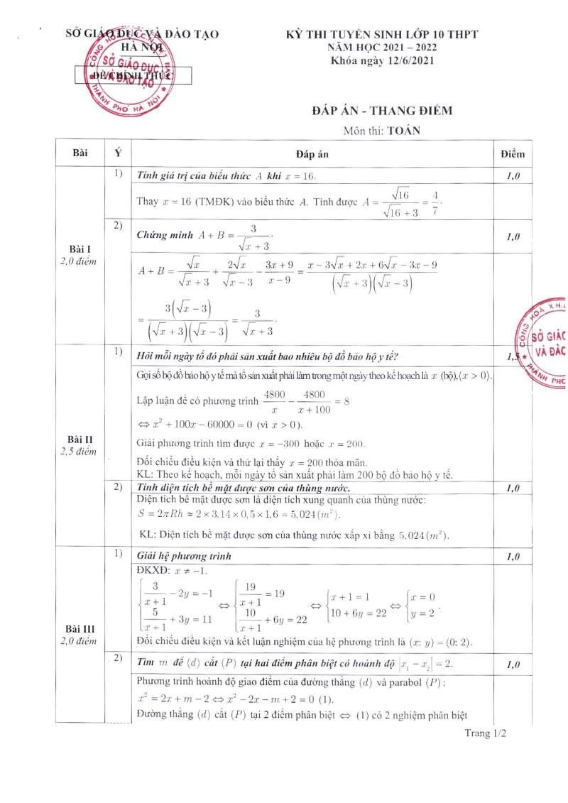 Hà Nội công bố đáp án và thang điểm các bài thi kỳ thi tuyển sinh lớp 10 2021 ảnh 1 đề Toán